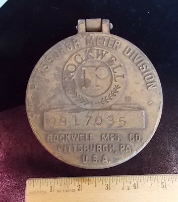 Vintage Rockwell Brass Water Meter Cover Industrial Steampunk