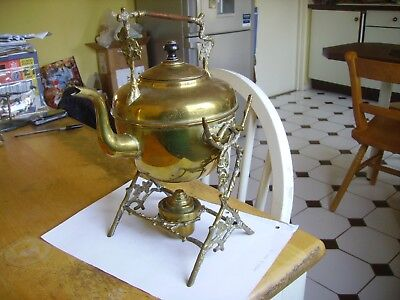Antique Victorian brass spirit kettle with stand & burner dating from 1880s.