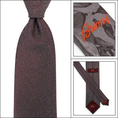 """New BRIONI dis.n.1063 Oxblood Silver Striped 3.25"""" Hand Made Woven Silk Neck Tie"""