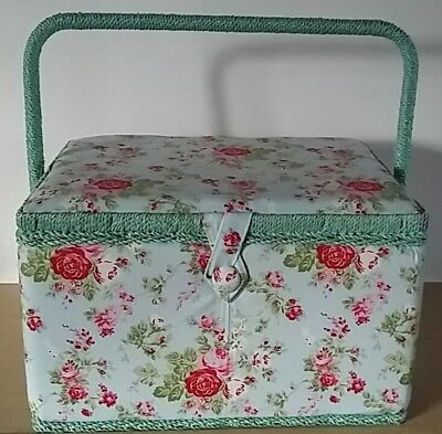 BNWT-Hobby Gift - Large Vintage Floral Design Fabric Covered Sewing Box