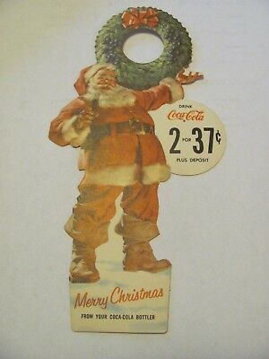 Vintage Coca Cola 2/37 Cents Merry Christmas Bottle Topper NOS Advertising