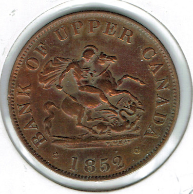 1852 Upper Canada Half Penny Token Dragon Slayer