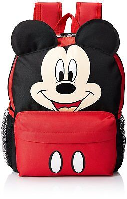"12"" Disney Mickey Mouse Face Medium School Backpack with Ears"