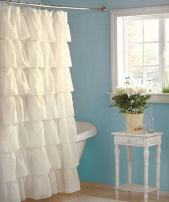 Special Chic Ruffle White Shower Curtain Semi Sheer Free Shipping