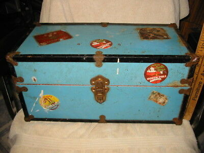 cass toy old metal travel doll trunk child toy chest christmas & rr stickers vtg