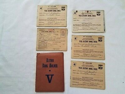 5 Vintage WW2 War Ration Books Historical  Memoribilla with Stamps Holders