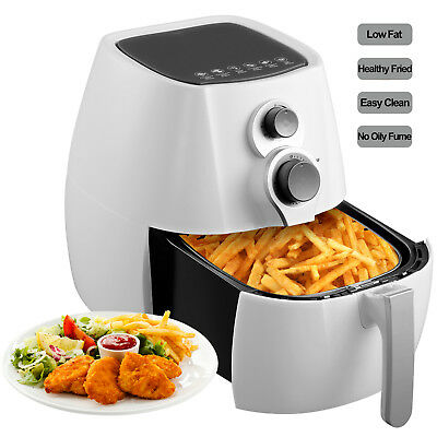 1350W Electric No Oil Air Fryer Temperature Control Timer W/6 Cooking Presets