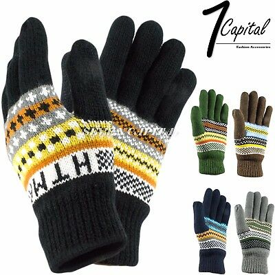 Mens Womens Insulation Winter Warm Cold Knit Thermal Outdoor Ski Gloves Mitten