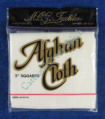 """Afghan Cloth Fabric For Cross Stitch White 18 Count 58"""" X 45"""""""