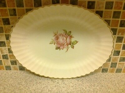 J G Meakin Meat Serving Plate Platter Classic White Pink Rose Design