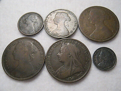 Great Britain Coin Lot 1861-1899 Farthing Half Penny One Penny & Three Pence