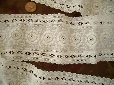 "WIDE 84"" FLORAL Antique VTG EMBROIDERY EYELET CUTWORK GALLOON LACE FLOUNCE"