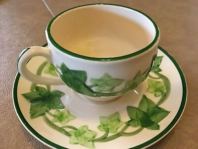 FRANCISCAN IVY PATTERN Tea Cup and Saucer Footed California Set-2 TWO Vintage