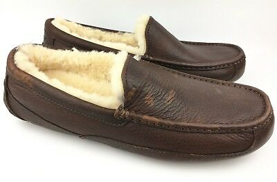 a3294186cf0a UGG MEN S ASCOT China Tea Leather Moccasin Slippers 5379 sz  US 10 ...