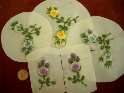 SALVAGED 5-PC SET Antique Vtg SILK WOOL EMBROIDERY RIBBONWORK FLOWERS TRIM *DOLL