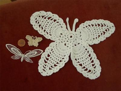 3-PC Antique VTG MILLINERY LACE BUTTERFLY ORNAMENTATIONS *DOLLS