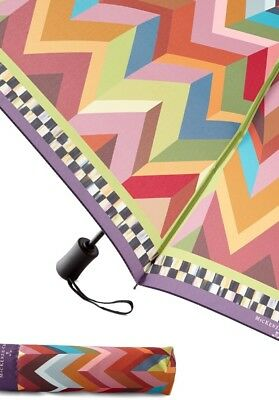 Mackenzie Childs Kaleidoscope  Travel UmbrellaWith Courtly Check Trim.  New