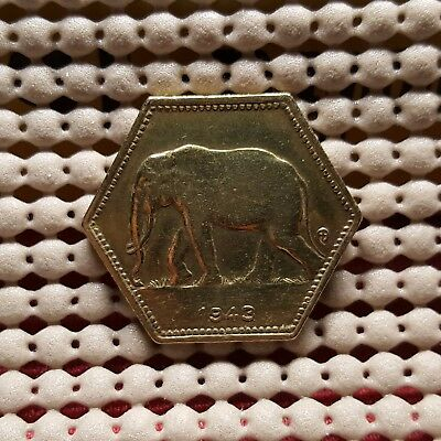 Belgian Congo 2 Francs, 1943 Hexagon Elephant Coin