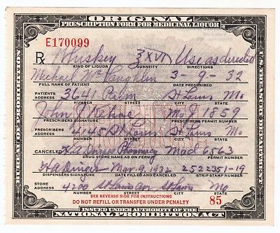 Whiskey Prohibition Prescription Antique Pharmacy Doctor St Louis MO Irish Bar