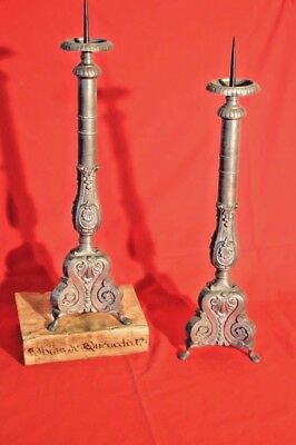 Pair antique French pewter torchere candelabra lamp bases candlesticks rococo
