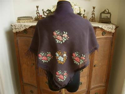 SHEER AIRY 1920s Antique Vtg FRINGE EMBROIDERY SILK SHAWL WRAP SCARF STOLE PANEL