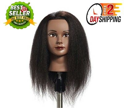 New Afro Mannequin Head 100% Real Hair Hairdresser Training Doll Head Manikin