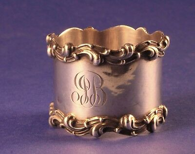 Antique Sterling Silver Napkin Ring Towle Applied Scrolls Border