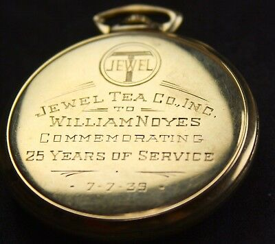 Vintage 14k Gold Waltham Premier Pocket Watch Jewel Tea Co. Service Award 1939