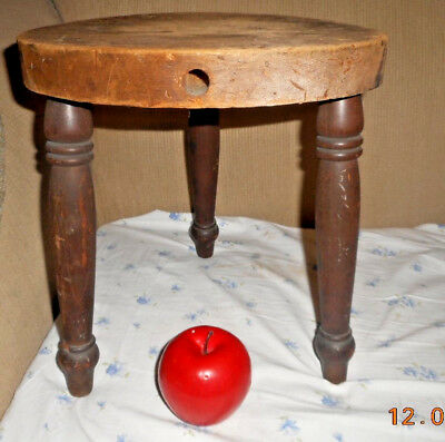 Aafa Antique Oxidized Pine Milking Stool Bench Table Riser