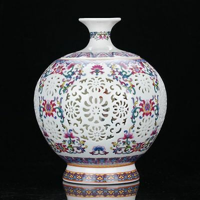 Chinese Colourful Porcelain Hand Painted & Hollow Carved Vase W Qianlong Mark