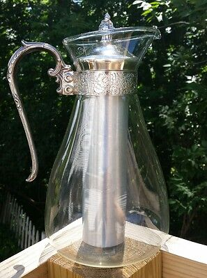 Vintage Glass Decanter Cold Ice Carafe Coffee Tea W/ Silverplate Lid & Handle