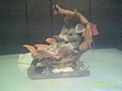 Charming Tails Mouse Ornament - 1996 Our First Xmas
