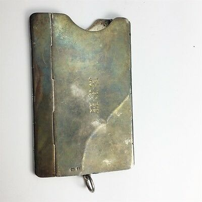 Vintage Solid Silver Sprung Loaded Card Case Holder 1949 Pendant Chatelaine