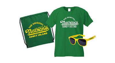 New Nathan's Famous Hot Dogs Coney Island  LARGE T Shirt Sunglasses & Back Pack
