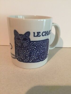 Win Ng TAYLOR & NG 1978 Coffee Mug LE CHAT KITTY CAT & BALL OF YARN Cobalt Japan