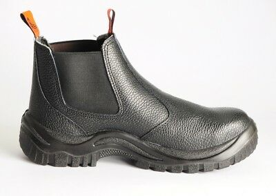 Steel Cap Real Leather Boot Safety Slip On Black Slip & Heat Resistant Shoe BOOT