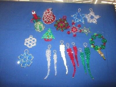 Vtg HM Beaded Handcrafted Icicle Star Bell Wreath OOAK Christmas Ornaments 19