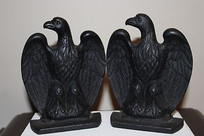 Vintage Colonial Eagle Bookends Cast Iron Large and Heavy