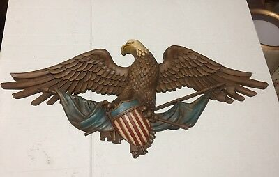 Vintage 1959 American Eagle Patriotic Wall Decor Colonial Red White Blue Resin