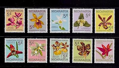 NICARAGUA 1962 Nicaraguan Orchid, Obligatory Tax, mint set of 10, MH