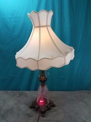 Vintage French Style Crystal Lamp W/ Brass or Bronze Footed Base Glass Prism