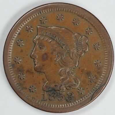 1853 1c Braided Hair Large Cent UNSLABBED