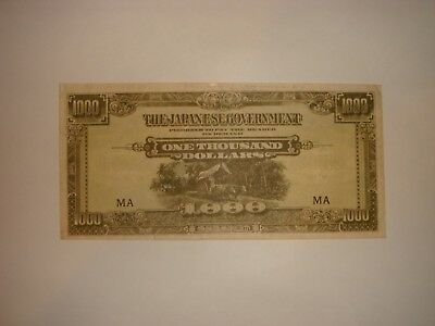 Malaya Nd(1945) 1000 dollar The Japanese Government Black Block Letter M-Very Fi