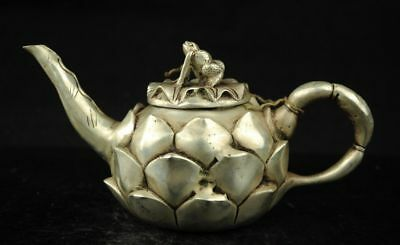 Chinese Fengshui silver Lotus Leaf Common Pond Frog Kettle Teapot Flagon Statu