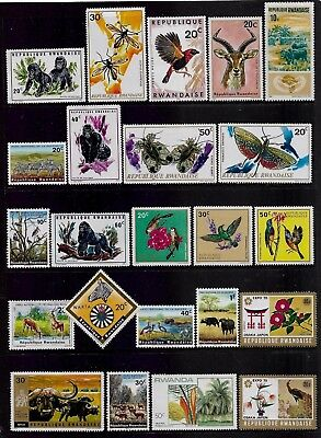 RWANDA mixed collection No.6, incl Animals, Insects, Birds, Flowers, mint MH