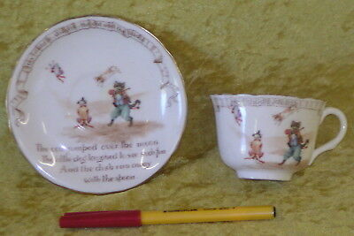 1904 ROYAL DOULTON Child's NURSERY RHYME CUP & SAUCER Hey Diddle Diddle SUPERB!