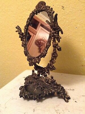 Vintage Cast Iron Mirror With Jewelry Trinket Storage Brass Tone