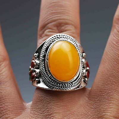 Exquisite Tibet Silver Inlaid Beeswax Handwork National Fashion Ring G827