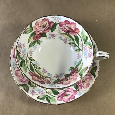 Paragon Cup & Saucer White With Band Of Large Florals