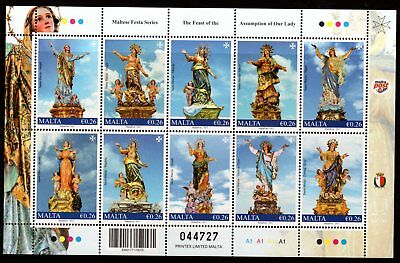 Malta 2017 Feast of the Assumption of Our Lady Sheetlet 10 MNH